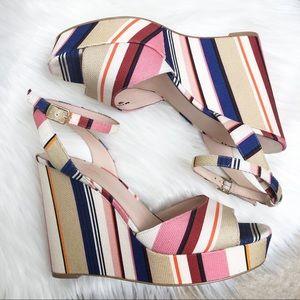 Kate Spade striped Dellie platform wedge sandals